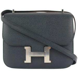 Hermès Bleu Indigo Epsom Leather Mini Constance 18 Crossbody H Flap 907her41