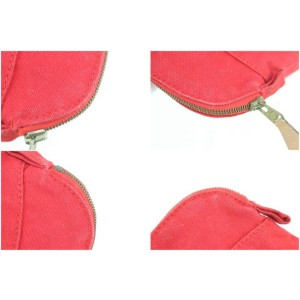 Hermès Bolide Cosmetic Make Up Pouch 230796 Red Canvas Clutch