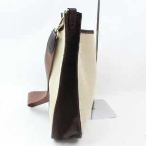 Hermès Messenger Evelyne Bicolor 870092 Brown Canvas Shoulder Bag