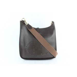 Hermès Evelyne Dark 6hz1220 Brown Leather Messenger Bag