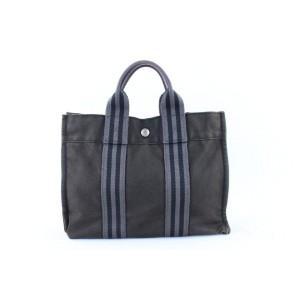 Hermès Fourre Tout Stripe Charcoal 21hr1120 Grey Canvas Tote