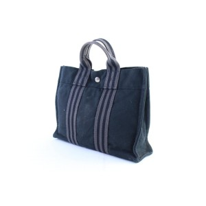 Hermès Fourre Tout Striped 11hr0226 Navy X Grey Canvas Tote