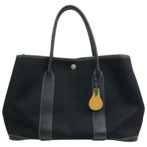 Hermès Garden Party With Pear Fruit Charm 870827 Black Canvas Tote