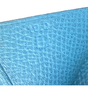 Hermès Jean Bearn Wallet Bifold Long 11h68 Blue Leather Clutch