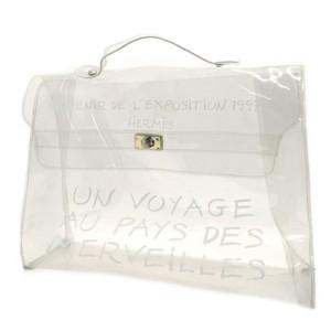 Hermès Kelly Clear Souvenir De L'exposition 229080 White Vinyl Satchel