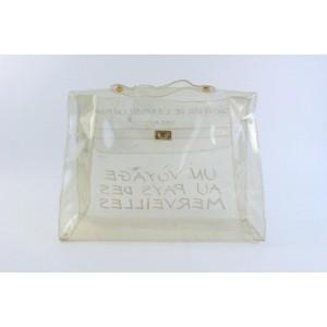 Hermès Kelly L Clear Translucent 1997 Souvenir De L'exposition 9hz0817 White Vinyl Tote