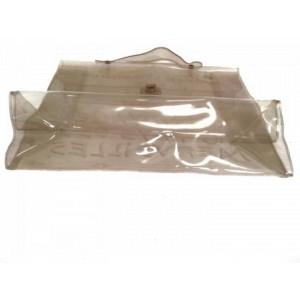 Hermès Kelly Souvenir 1997 229695 Clear X White Vinyl Satchel