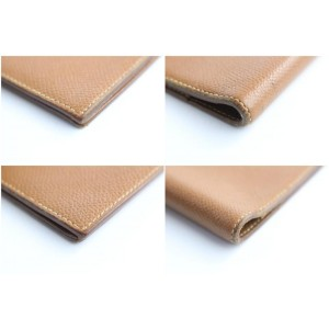 Hermès Long Bifold Agenda Wallet 25hr0501 Brown Leather Clutch
