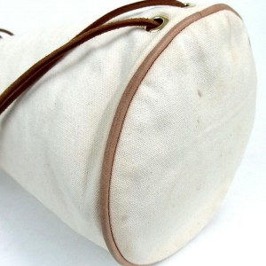 Hermès Polochon Mimile Hobo Off-white 872884 Ivory Canvas Shoulder Bag