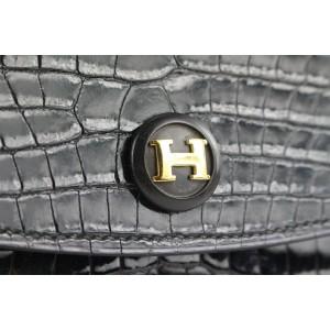 Hermès  Black Porosus Crocodile Rio Clutch Pochette Envelope Bag 536her310