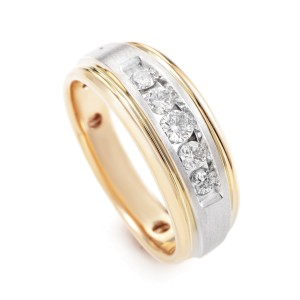 14K Multi-Tone Gold Diamond Band Ring