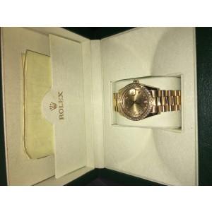 Rolex Men's President Day-Date 18K Yellow Gold Diamond Bezel & Champagne Diamond Dial Watch