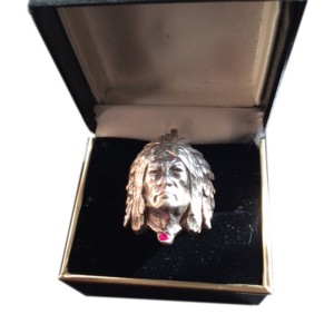 Indian Chief Head Sterling Silver Ring