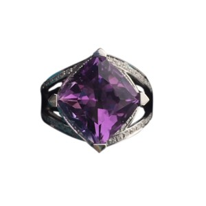 Mauboussin 18K White Gold Diamond Amethyst Ring Size 6