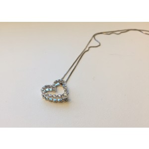10K White Gold with 0.2ct. Diamond Heart Pendant Necklace