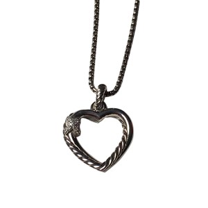 David Yurman Petite Heart 925 Sterling Silver 0.06ctw Diamond Necklace