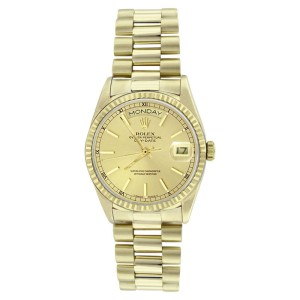 Rolex Solid 18K Gold President 18038 Champagne Stick Dial Quickset Mens Watch