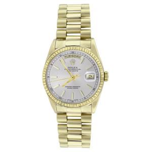 Rolex Solid 18K Gold President 18038 Silver Stick Dial Quickset Mens Watch