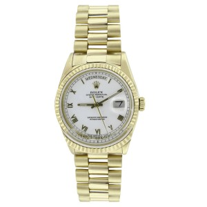 Rolex Solid 18K Gold President 18038 White Roman Dial Quickset Mens Watch