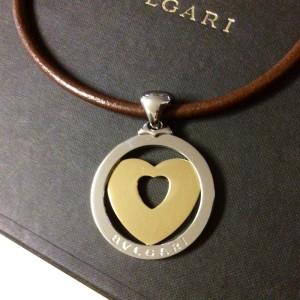 Vintage Bvlgari Bulgari White Gold Heart Pendant Leather Cord Necklace
