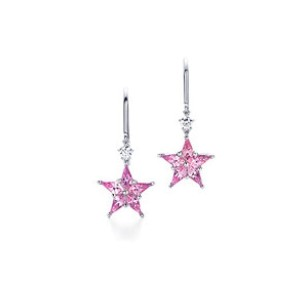 Tiffany & Co. Platinum Pink Sapphire Diamond Drop Earrings