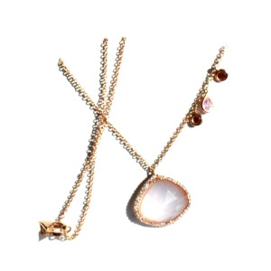 18K Rose Gold, Diamond, Quartz & Sapphire Necklace