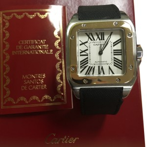 Cartier Santos 100 Yellow Gold and Stainless Steel Men's Watch