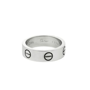 Cartier 18k White Gold Love Ring Wide Band Ring