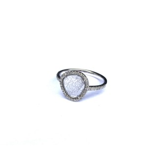 18K White Gold Natural Diamond Slice Ring