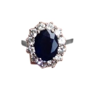 14K White Gold Diamond & Sapphire Engagement Ring
