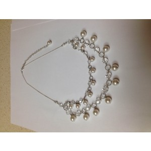 Swarovski Crystal Pearl and Sterling Silver Double Strand Necklace