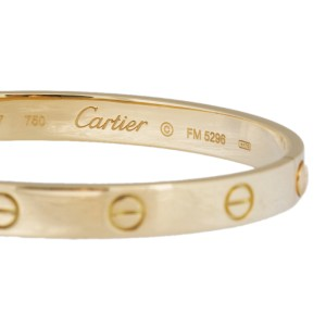 Cartier Love 18K Yellow Gold Bracelet Size 17