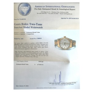 Rolex TwoTone Datejust 14K Gold 1601 Watch