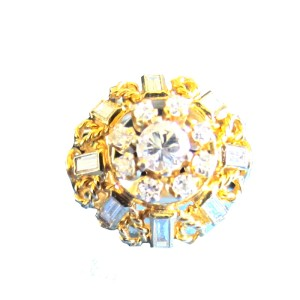 18K Yellow Gold and Diamond Bombay Style Ring Size 7
