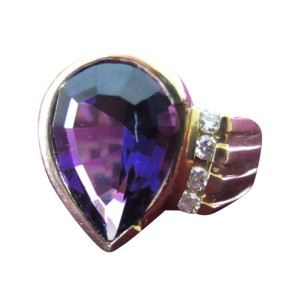 14K Yellow Gold Amethyst and Diamond Cocktail Ring