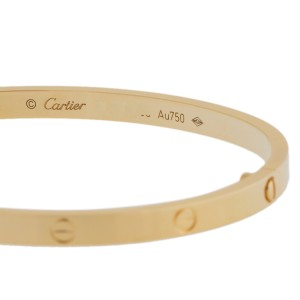 Cartier Yellow Gold Love Bracelet, SM Size 16