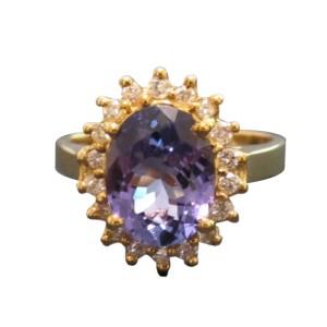 14K Yellow Gold Tanzanite & Diamond Ring Size 9