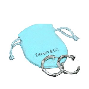 Tiffany & Co. Sterling Silver Bamboo Tiffany Hoop Earings