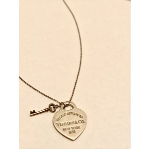 b56668220 Tiffany & Co. Sterling Silver Return To Tiffany Heart Tag Key Pendant  Necklace