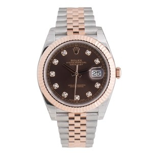 Rolex Two-Tone DateJust II Rose Gold Chocolate Diamond Dial Watch