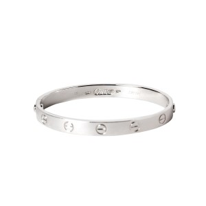 Cartier White Gold Love Bracelet Size 16