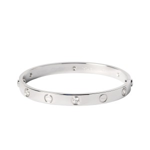 Cartier Love White Gold 6 Diamond Bracelet Size 16