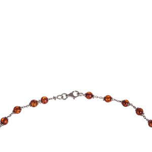 Sterling Silver Baltic Amber Bead Necklace