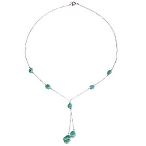 Art Deco Sterling Silver & Turquoise Nugget Tassel Necklace