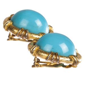 Geoffrey Beene Faux Sleeping Beauty Turquoise Earrings
