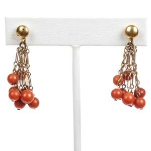 Red Coral Bead Dangle Tassel Earrings