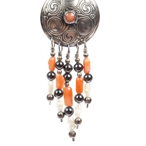 Sterling Silver Celtic Inspired Coral Hematite Pearl Earrings