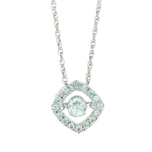 14k White Gold Round Diamond Pendant Necklace