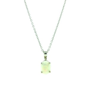 18K White Gold White Opal Cabochon Necklace