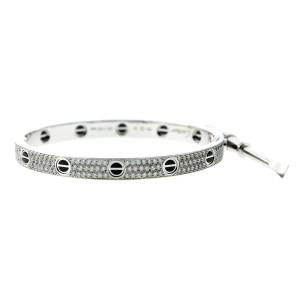 Cartier Love Ceramic Paved Diamond Bracelet Size 17